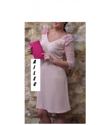 De Vestido Con Cayma Diseño Mangas Tull nPOm80yvNw